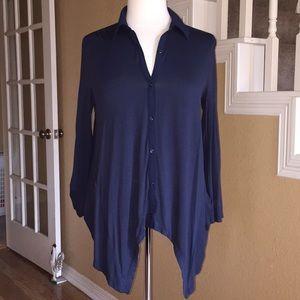 Ann Taylor Navy Blue Knit Blouse Sz Medium